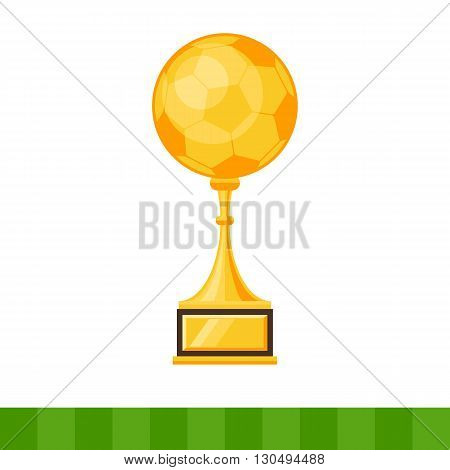 Gold Cup of the winner, a soccer ball. Vector illustration flat style isolated on white background