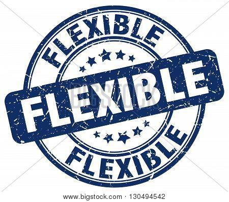 flexible blue grunge round vintage rubber stamp