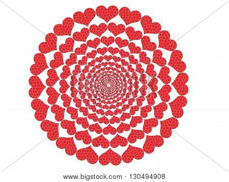 Circle of red hearts on a white background