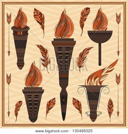 Set decorative flaming torches, feathers, arrows. Elements of Greek ornament, fire design for flyers, invitations, theme nights. Vector illustration
