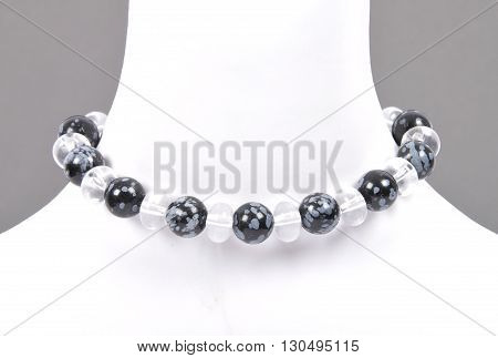 Rock Crystal And Snowflake Obsidian Chain On Bust