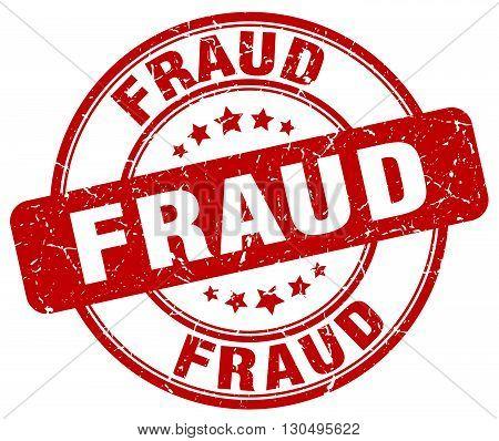 fraud red grunge round vintage rubber stamp