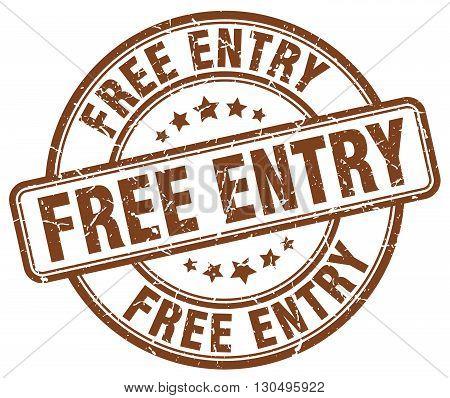 free entry brown grunge round vintage rubber stamp