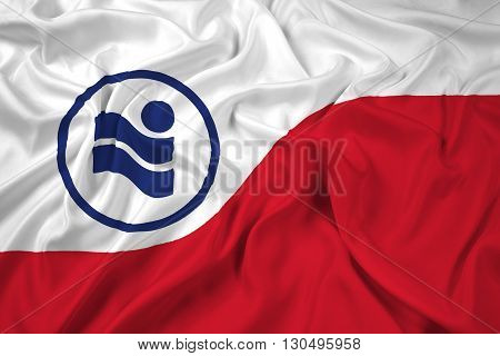 Waving Flag of Irving Texas, with beautiful satin background