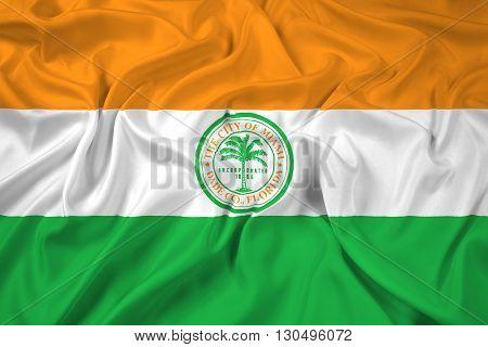 Waving Flag of Miami Florida, with beautiful satin background