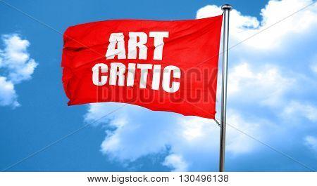 art critic, 3D rendering, a red waving flag