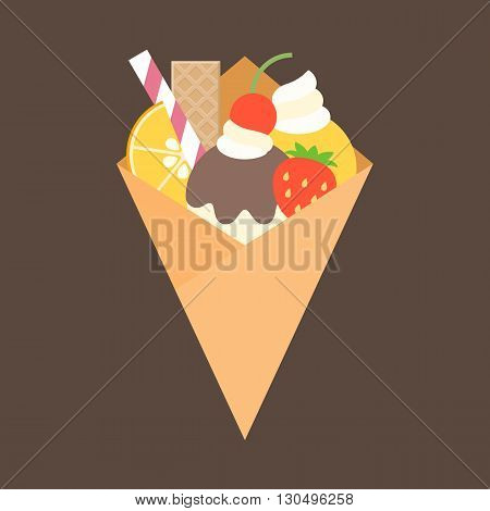 crepes with topping, fruits, wafer, orange, cherry, whip cream, strawberry, jam and ice cream, flat design