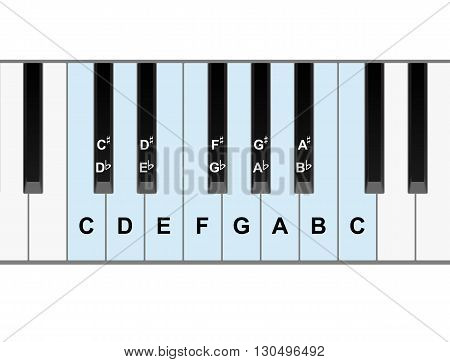 Simple piano keyboard showing full octave of notes vector