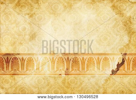 Old dirty paper background with old-fashioned border and decorative patterns.