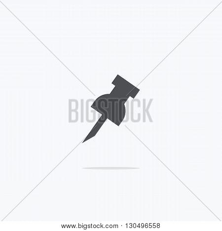Drawing pin. Icon pushpin. Vector illustration on a light background.
