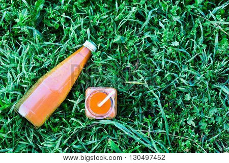 Bottled carrot juice on grass nature background