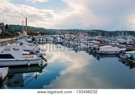 Izola Slovenia - September 10 2015: sea and boats view in summer