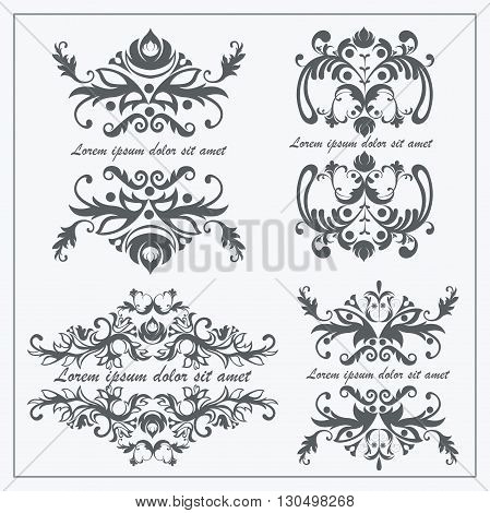 Set luxury logos template flourishes calligraphy elegant ornament baroque lines. Business sign, identity for restaurant, boutique, hotel, heraldic, jewelry, on a white background. Isolated vector illustration