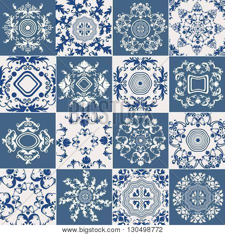 Set tiles with ornament Baroque style on a blue, white background. The circular mandala for wallpaper, background web page design printing. Vector illustration