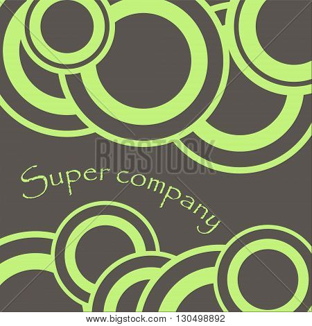 Circle ornament super company two color illustration Round green ornament on a gray background for the two sides of the field for flyers or design