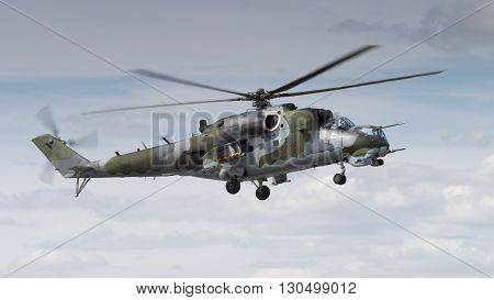 Soviet era Mi-24 Hind helicopter in flight