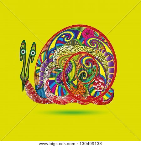 Drawing funny bright snail Illustration on a yellow background with shadow funny bright snail is made in the style of primitive doodle for decoration and design