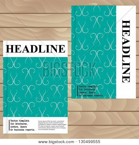 Vector Template For Brochures, Covers, Flyers Or Business Reports. Vintage Wallpaper. Turquoise.
