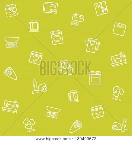 Vector green seamless background with icons of household appliances and electrical appliances.