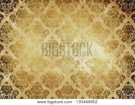 Old dirty paper background with old-fashioned floral ornament. Vintage paper texture.