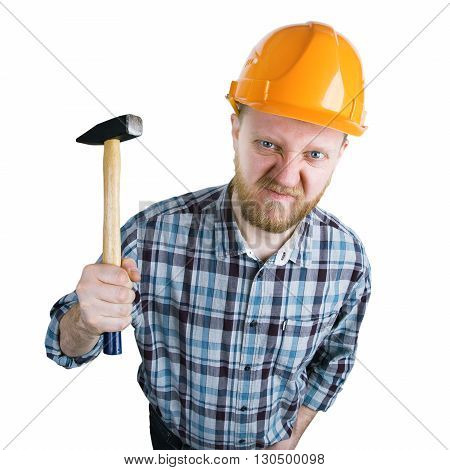 Angry builder in a helmet with a hammer