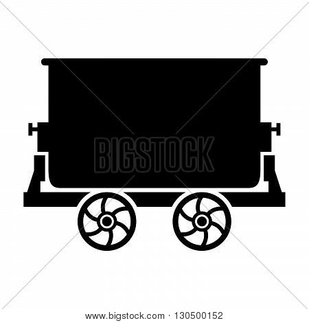 Mine trolley ( shade picture ) on white