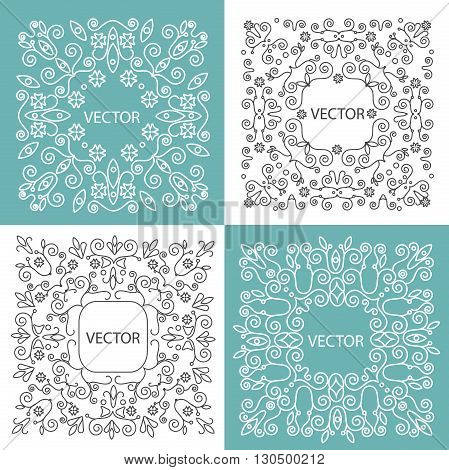 Floral frame with copy space for text in trendy mono line style. Vector Illustration