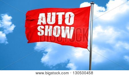 auto show, 3D rendering, a red waving flag