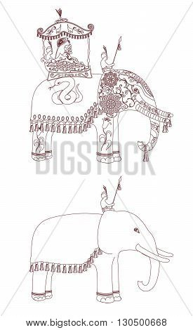 corated Indian Elephant contour. King and servants on elephants