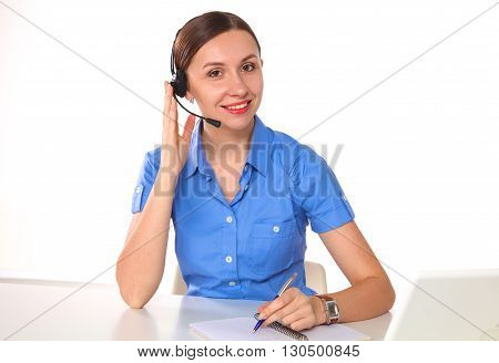 Portrait of woman customer service worker, call center smiling operator with phone headset isolated on white background.