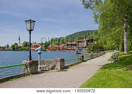 Lakeside Promenade Schliersee With Birch Trees, Benches And Lantern