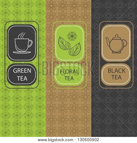 Set of design elements and icons in trendy linear style for tea package, brochures floral, black and green tea. Vector Illustration