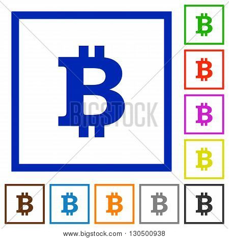 Set of color square framed bitcoin sign flat icons on white background
