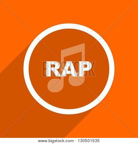 rap music icon. Orange flat button. Web and mobile app design illustration