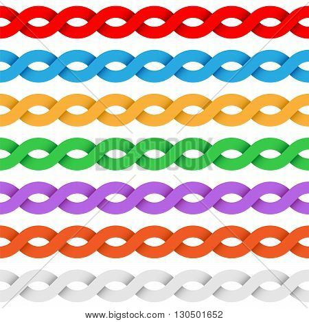 Repeating tileable twisted ribbon colored vector border elements
