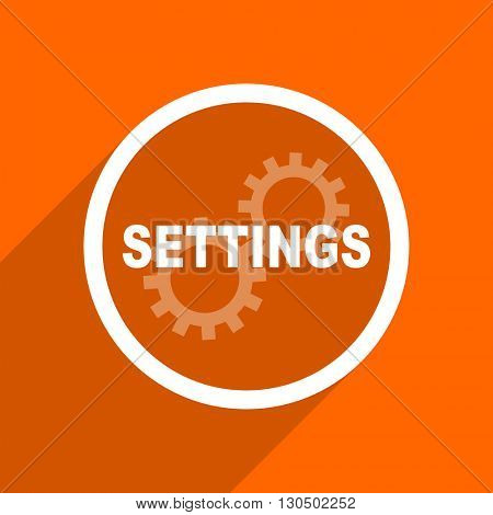 settings icon. Orange flat button. Web and mobile app design illustration