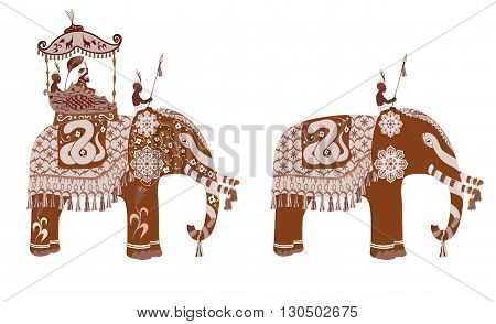 Vector decorated Indian Elephant silhouette.King and servants. Sepia and vintage design.