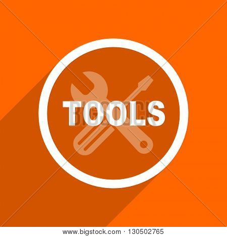 tools icon. Orange flat button. Web and mobile app design illustration