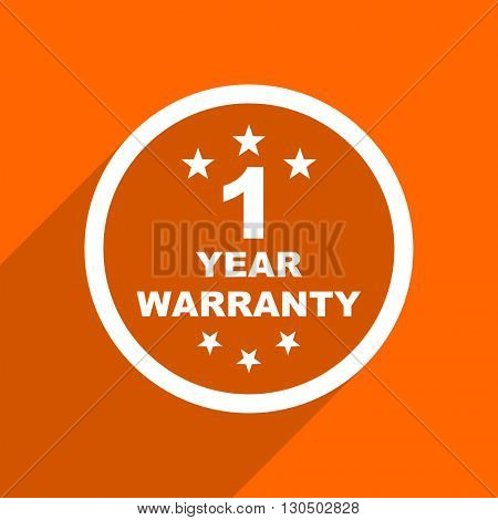 warranty guarantee 1 year icon. Orange flat button. Web and mobile app design illustration