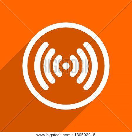 wifi icon. Orange flat button. Web and mobile app design illustration