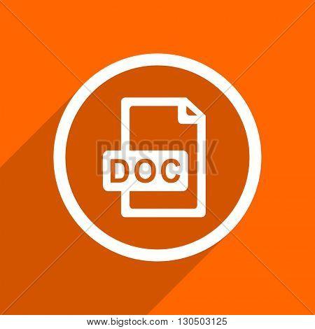 doc file icon. Orange flat button. Web and mobile app design illustration
