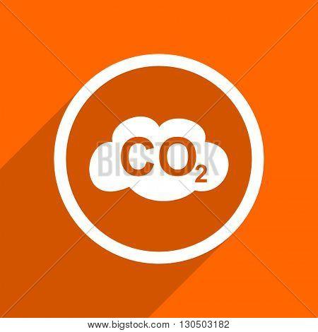 carbon dioxide icon. Orange flat button. Web and mobile app design illustration