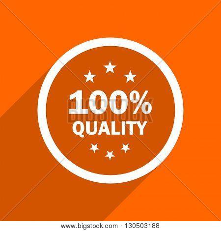 quality icon. Orange flat button. Web and mobile app design illustration