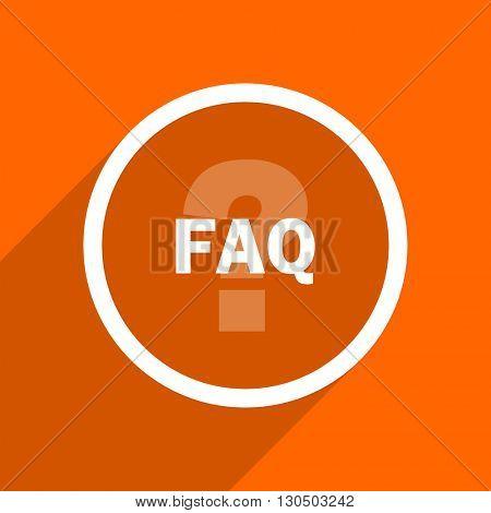 faq icon. Orange flat button. Web and mobile app design illustration