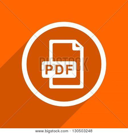 pdf file icon. Orange flat button. Web and mobile app design illustration