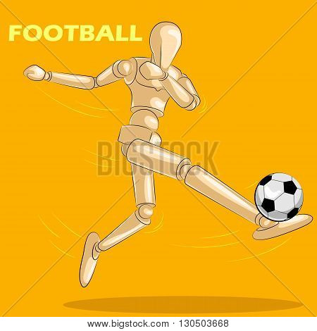 Concept of Football with wooden human mannequin . Vector illustration