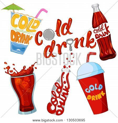 Set of cold drink and beverage icon . Vector illustration