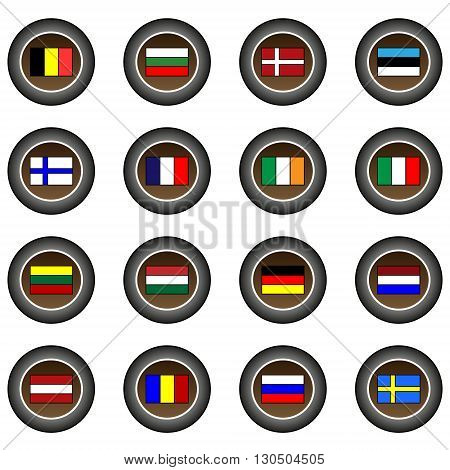 Collection of 16 isolated brown buttons (icons) - European flags
