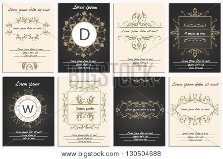 Logos for corporate style. Decorative, ornament frames in Baroque style. Set of patterns leaflets. Vector Illustration