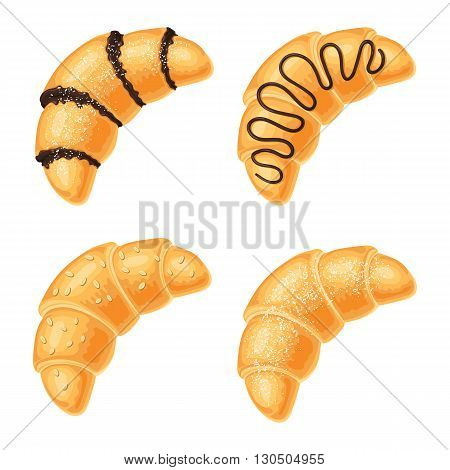 Set of croissants with chocolate, nuts and powdered sugar range, isolated on a white background. Vector illustration for web design or print brochures